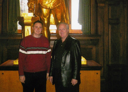 Gary and his son Jason in front of George Washington at the Grand Lodge of New York, also home of Mecca Temple.
