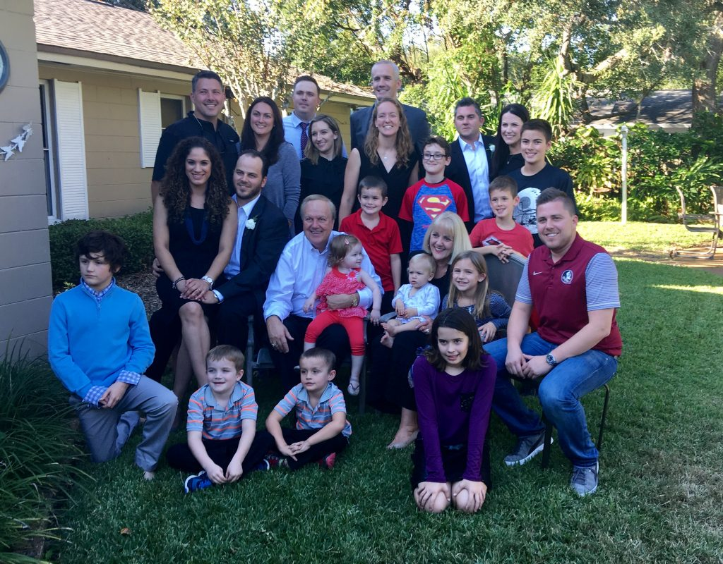 Gary and Anne Bergenske with the grown up Bergy Bunch and their families""